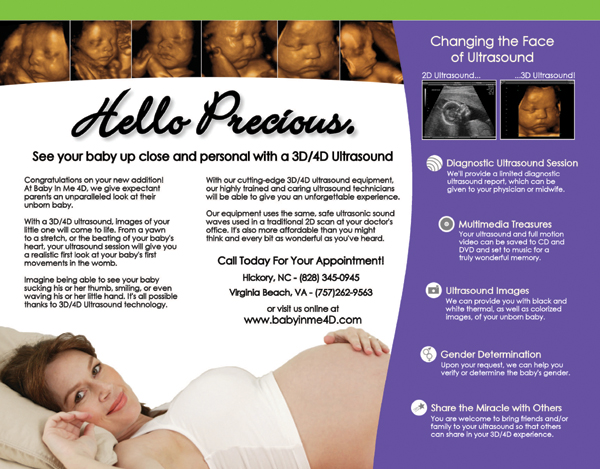 fold-out brochure for Babyinme4d