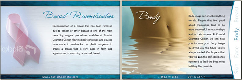 sample pages in booklet for Coastal Cosmetic